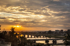 Four bridges of Badajoz City at sunset with cloudy sky Royalty Free Stock Photography