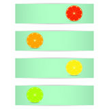 Four bright banner with stylized citrus fruits Royalty Free Stock Photo