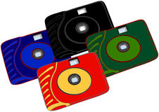 Four bright cameras Royalty Free Stock Photo