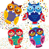 Four bright colorful owls. Vector set Royalty Free Stock Photos