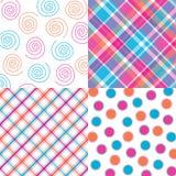 Four Bright Patterns. Four orange, pink and aqua patterns Stock Image