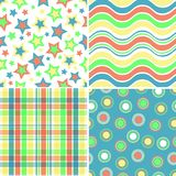 Four Bright Patterns. Illustration of four yellow, orange, blue and green patterns Stock Photo