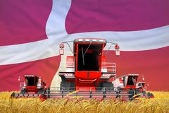 Industrial 3D illustration of four bright red combine harvesters on rye field with flag background, Denmark agriculture concept. Four bright red combine vector illustration