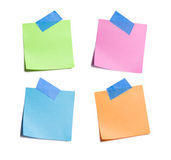 Four Bright Sticky Notes Taped Royalty Free Stock Images