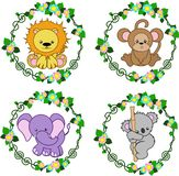 Animals in the Vector: lion, monkey, elephant, koala. Four bright stylized animals in a round floral frame, vector Royalty Free Stock Images