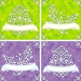 Four brightly colored spring backgrounds. Sparkly springtime backgrounds in green and purple. Graphics are grouped and in several layers for easy editing. The Stock Photography