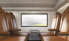 Four brown armchairs in train compartment Stock Images