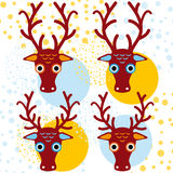 Four brown deer on an orange light blue background. New Year. Winter.  Royalty Free Stock Images