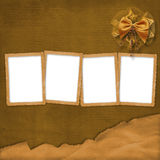 Four brown frames wiht bow Stock Image