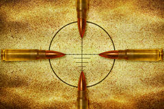 Four bullets and target Royalty Free Stock Photo