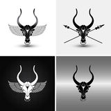 Four bulls. Four variations of iron bull icons and backgrounds Royalty Free Stock Image