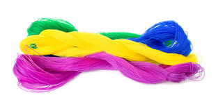Four bundles of colorful nylon ropes Royalty Free Stock Photography