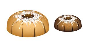 Four Bundt Cake Topped with Sugar Glaze and Nuts Stock Images