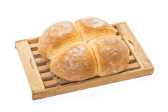 Four Buns Bread on Board Royalty Free Stock Images