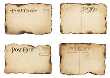 Four Burned, Vintage Post Cards Stock Images