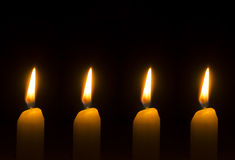 Four burning candles for Advent - Christmas. Four burning candles for Advent Royalty Free Stock Images