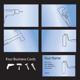Four tool business cards Royalty Free Stock Image