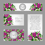 Four business cards with white and pink flowers. Set of four business cards with white and pink flowers Stock Photo