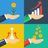 Four  business growth concepts. Four  financial business growth concepts. Rising graph on hand, falling profits coins, money tree. All on different colored Royalty Free Stock Photo