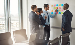 Four business people planning with sticky notes Stock Photography