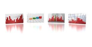 Four business report screens Stock Photos