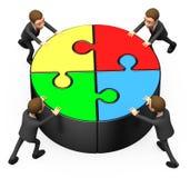 Four businessman pushing round puzzle Stock Photography