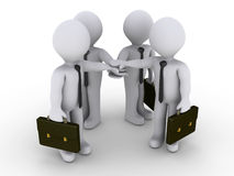 Four businessmen join hands. Four 3d businessmen are joining hands Royalty Free Stock Image