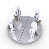Four businessmen stand together on grey pie chart slices Royalty Free Stock Images