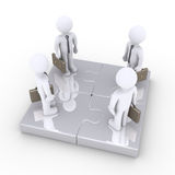 Four businessmen stand together on puzzle pieces. Four 3d businessmen are standing on connected puzzle pieces Royalty Free Stock Photos