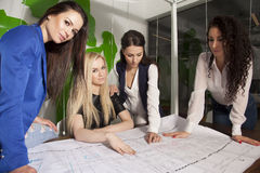 Four businesswomen at office working with laptop. Four beauty young adult businesswomen at office working with laptop Stock Images