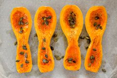 Four butternut squash pieces with pumpkin seeds on white paper Royalty Free Stock Image