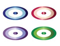 Four buttons vector set in multiple colors - evil eye buttons illustration. White background Royalty Free Stock Images