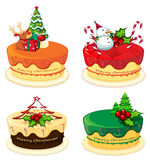 Four cake designs for christmas Stock Images