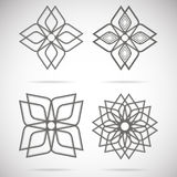 Four calligraphical stars. Black calligraphical star on a white background Stock Photo