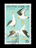 Four calling birds. Christmas Island - circa 1977: Four calling birds - part of a set of 12 mail stamps printed on Christmas Island depicting gifts given during Royalty Free Stock Photo