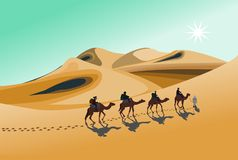 Four camel riders are hiking in the hot sun in the desert with sand mountain background vector illustration