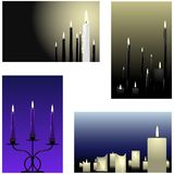 Four candle backgrounds Stock Photos