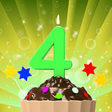 Four Candle On Cupcake Means Anniversary Party Stock Images
