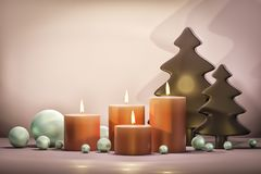 Four candles for christmas time. 3d illustration of four candles for christmas time Royalty Free Stock Images