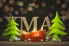 Four candles for christmas time. 3d illustration of four candles for christmas time Stock Photos