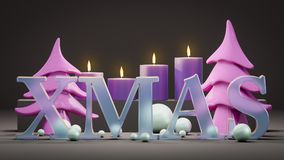 Four candles for christmas time. 3d illustration of four candles for christmas time Royalty Free Stock Photography