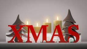 Four candles for christmas time. 3d illustration of four candles for christmas time Stock Images