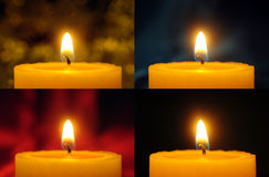 Four candles collage Stock Photography