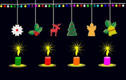 Four candles lit at Christmas Day. There is a black background. Christmas day royalty free illustration