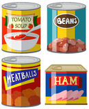 Four canned food on white background. Illustration stock illustration