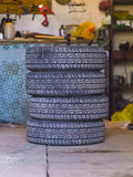 Four car tires in the garage Royalty Free Stock Photography