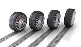 Four car wheel and trace. 3d illustration Royalty Free Stock Photos
