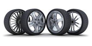 Four car wheel royalty free illustration