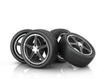 Four car wheels Stock Photo