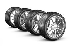 Four Car Wheels Stock Photography